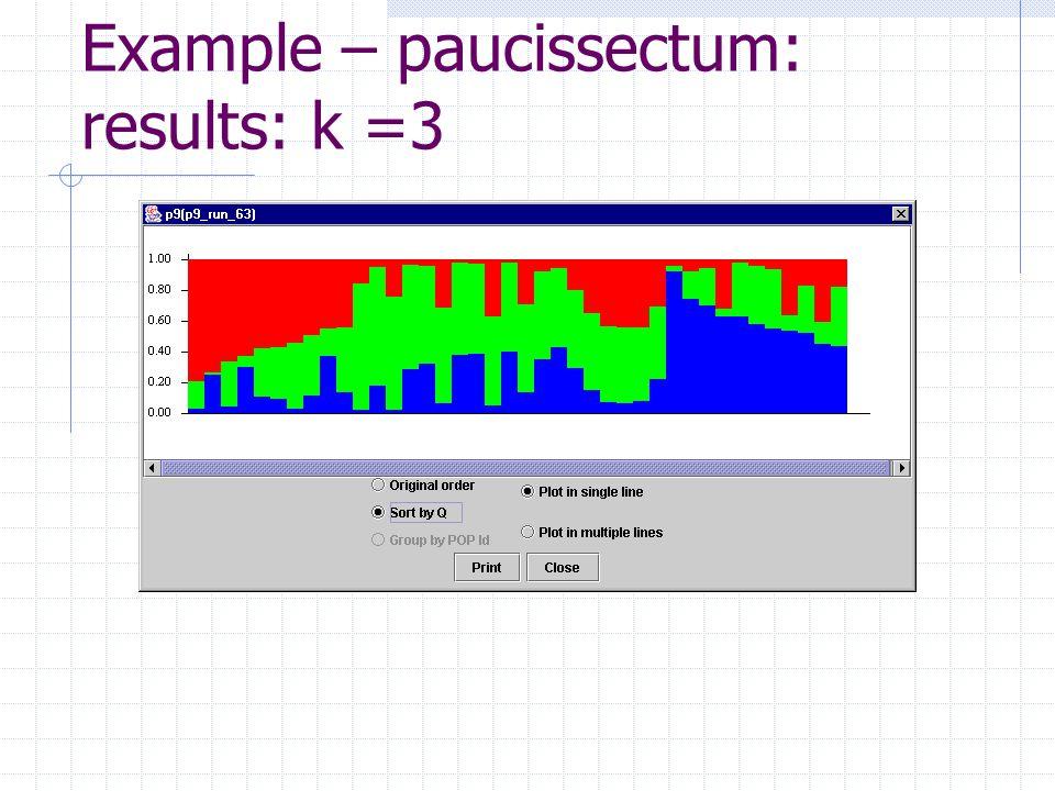 Example – paucissectum: results: k =3