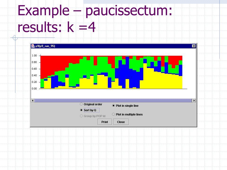 Example – paucissectum: results: k =4