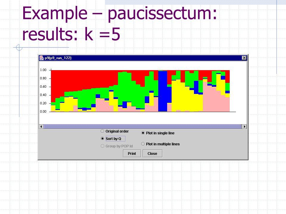 Example – paucissectum: results: k =5