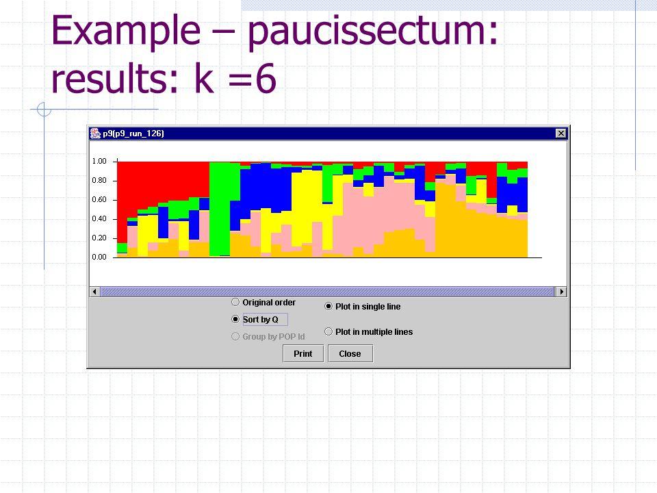 Example – paucissectum: results: k =6