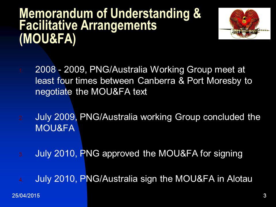 25/04/20153 Memorandum of Understanding & Facilitative Arrangements (MOU&FA) 1. 2008 - 2009, PNG/Australia Working Group meet at least four times betw