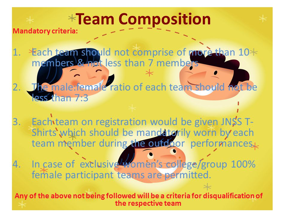Team Composition Mandatory criteria: 1.Each team should not comprise of more than 10 members & not less than 7 members 2.The male:female ratio of each team should not be less than 7:3 3.Each team on registration would be given JNSS T- Shirts which should be mandatorily worn by each team member during the outdoor performances.