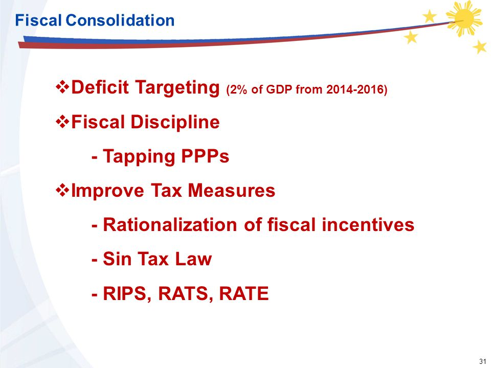 31 Fiscal Consolidation  Deficit Targeting (2% of GDP from 2014-2016)  Fiscal Discipline - Tapping PPPs  Improve Tax Measures - Rationalization of fiscal incentives - Sin Tax Law - RIPS, RATS, RATE