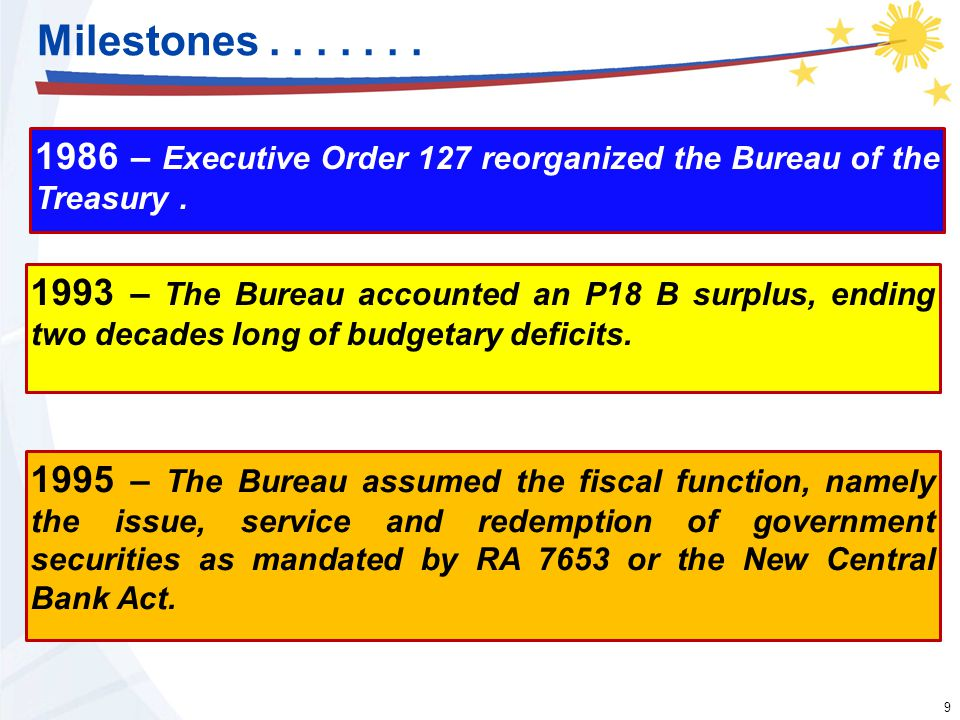 9 9 Milestones....... 1986 – Executive Order 127 reorganized the Bureau of the Treasury.