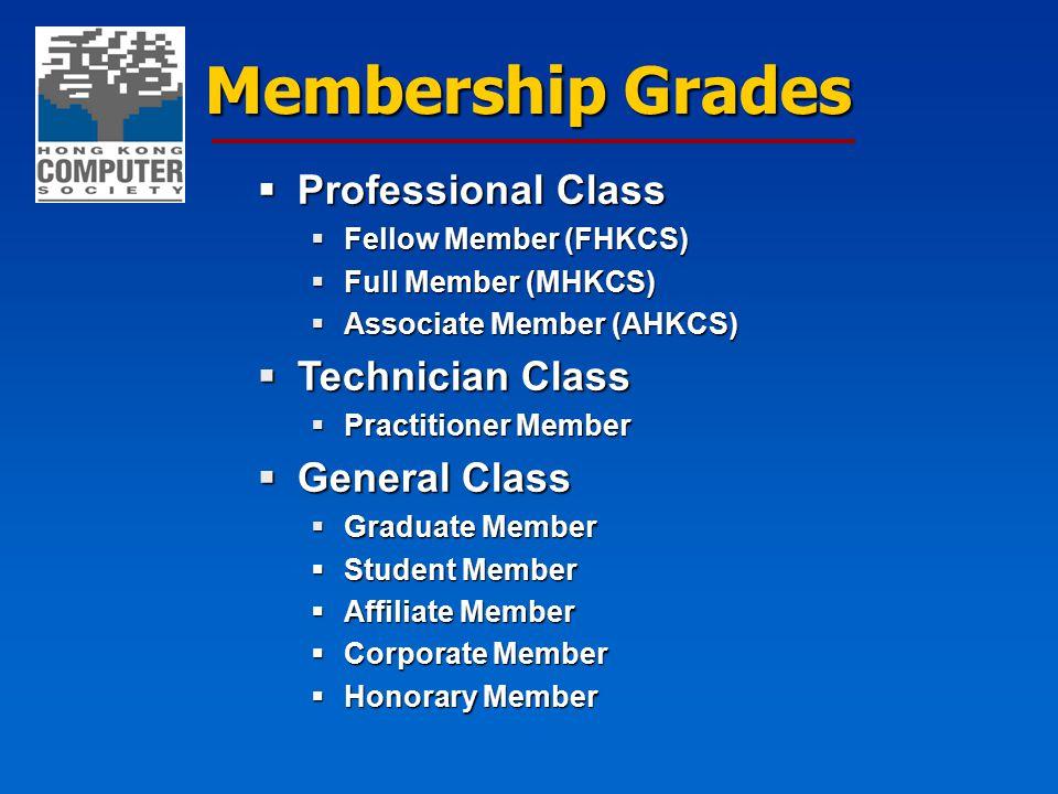 Membership Grades  Professional Class  Fellow Member (FHKCS)  Full Member (MHKCS)  Associate Member (AHKCS)  Technician Class  Practitioner Member  General Class  Graduate Member  Student Member  Affiliate Member  Corporate Member  Honorary Member