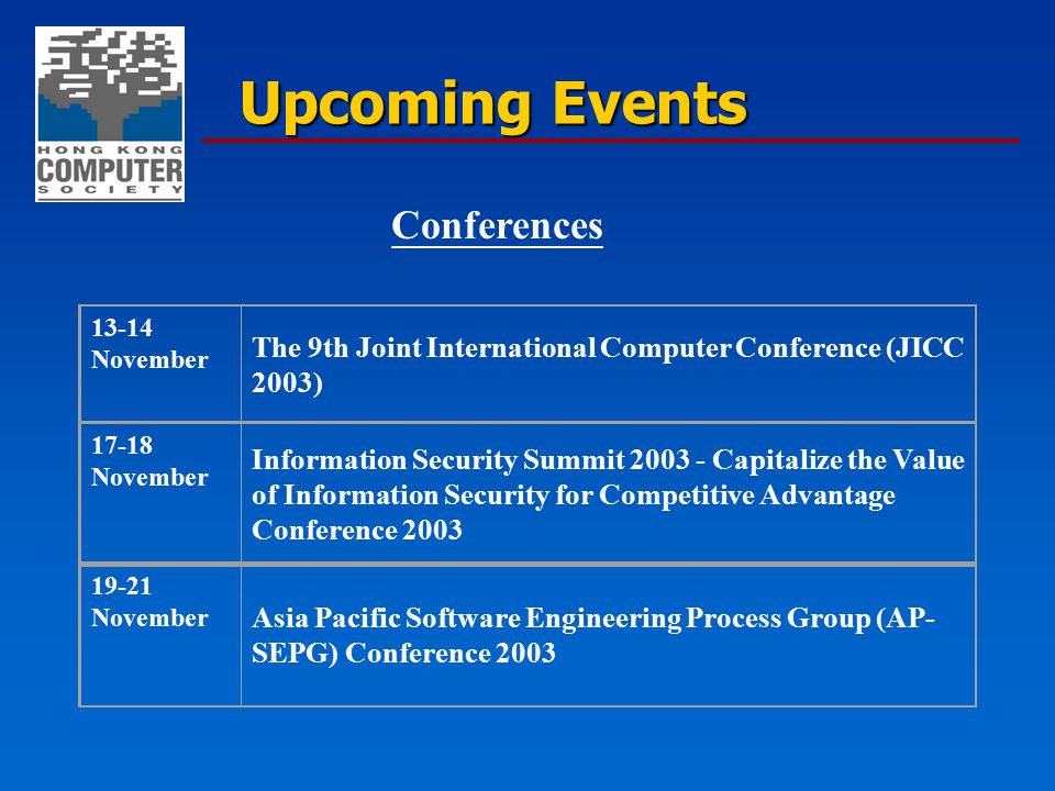 13-14 November The 9th Joint International Computer Conference (JICC 2003) 19-21 November Asia Pacific Software Engineering Process Group (AP- SEPG) C