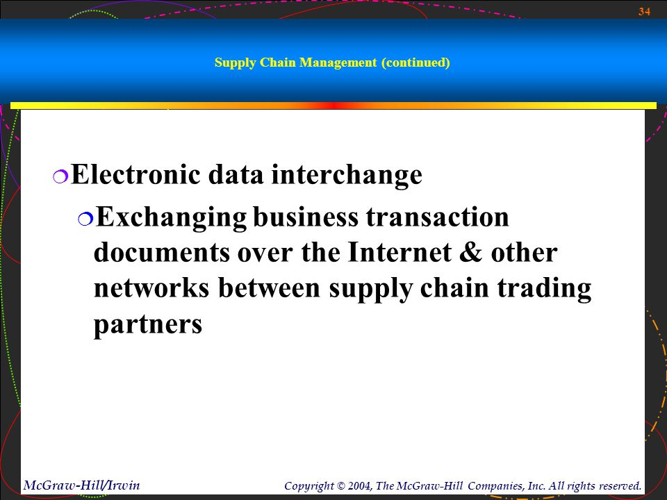 34 McGraw-Hill/Irwin Copyright © 2004, The McGraw-Hill Companies, Inc. All rights reserved. Supply Chain Management (continued)  Electronic data inte
