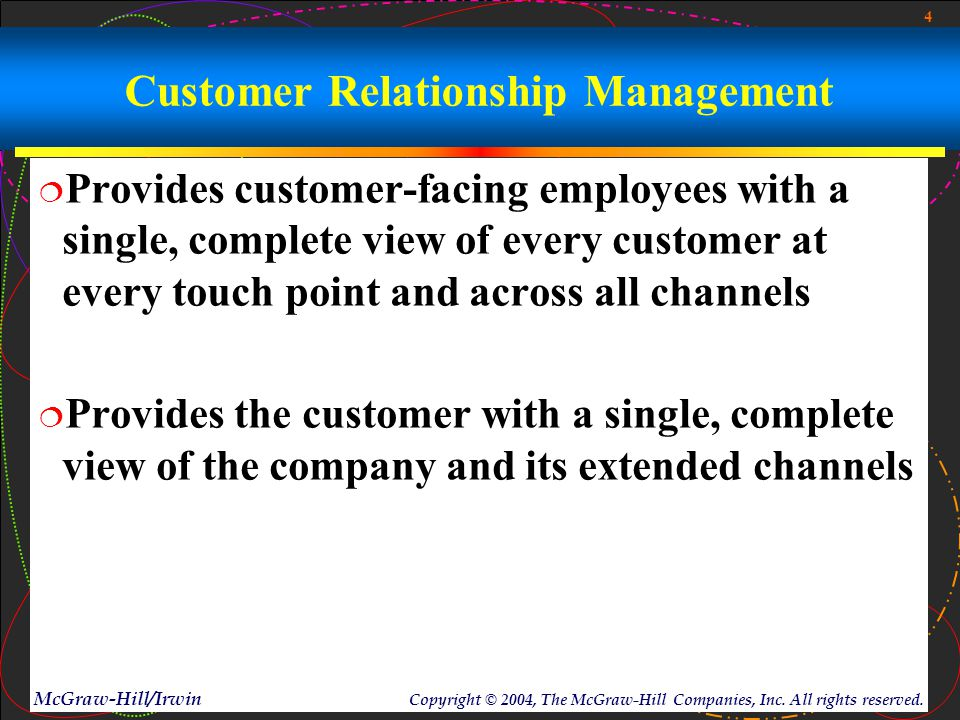 4 McGraw-Hill/Irwin Copyright © 2004, The McGraw-Hill Companies, Inc. All rights reserved. Customer Relationship Management  Provides customer-facing