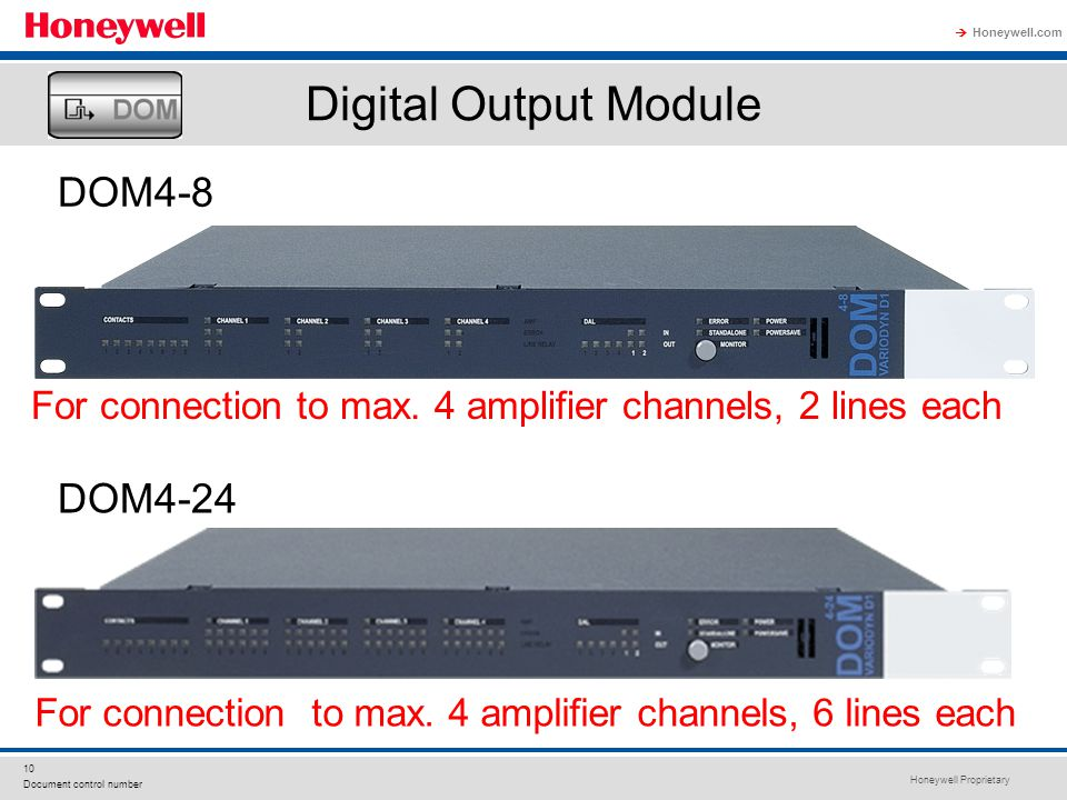 Honeywell Proprietary Honeywell.com  10 Document control number DOM4-8 DOM4-24 For connection to max. 4 amplifier channels, 2 lines each For connecti