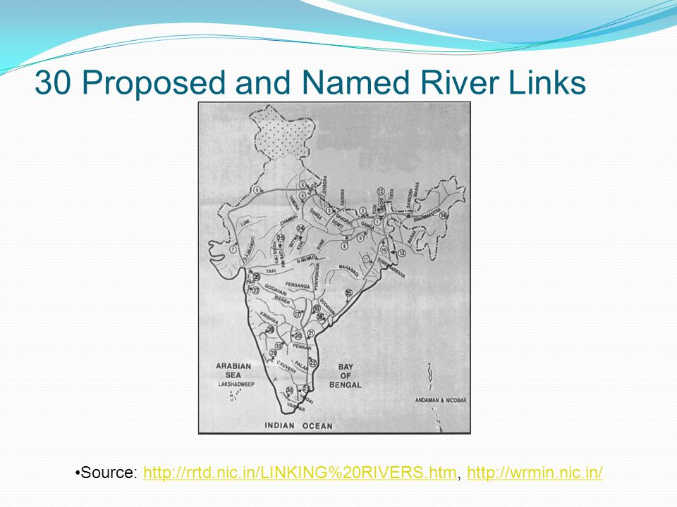 30 Proposed and Named River Links Source: http://rrtd.nic.in/LINKING%20RIVERS.htm, http://wrmin.nic.in/http://rrtd.nic.in/LINKING%20RIVERS.htmhttp://wrmin.nic.in/