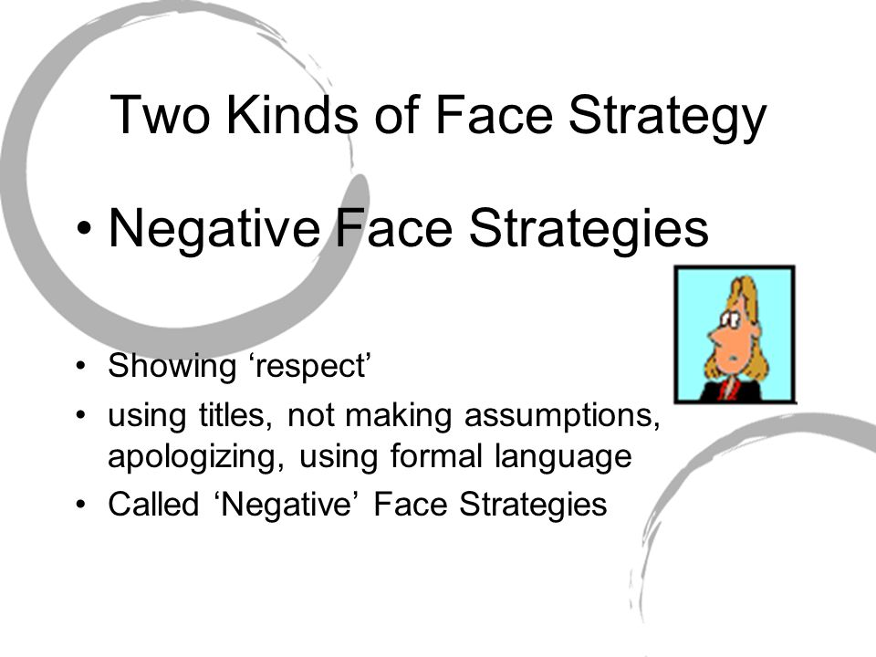 Two Kinds of Face Strategy Negative Face Strategies Showing 'respect' using titles, not making assumptions, apologizing, using formal language Called 'Negative' Face Strategies