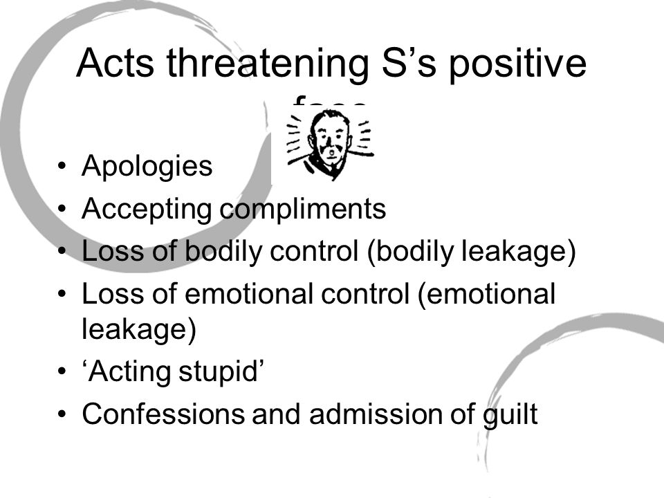 Acts threatening S's positive face Apologies Accepting compliments Loss of bodily control (bodily leakage) Loss of emotional control (emotional leakag