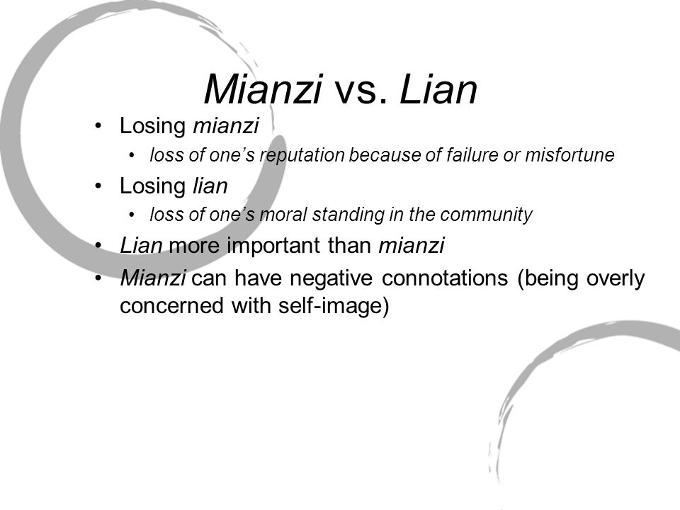 Mianzi vs. Lian Losing mianzi loss of one's reputation because of failure or misfortune Losing lian loss of one's moral standing in the community Lian