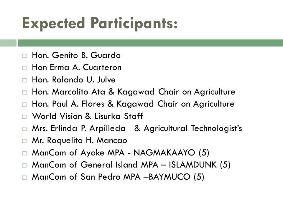 Expected Participants:  Hon. Genito B. Guardo  Hon Erma A.