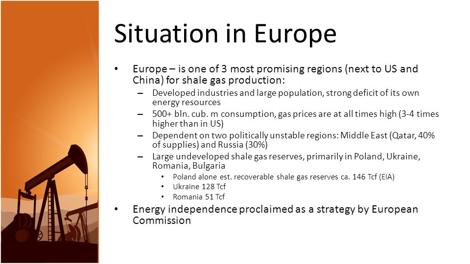Situation in Europe Europe – is one of 3 most promising regions (next to US and China) for shale gas production: – Developed industries and large population, strong deficit of its own energy resources – 500+ bln.