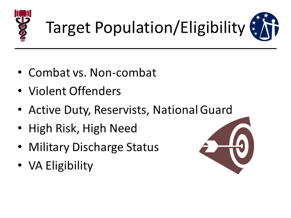 Target Population/Eligibility Combat vs. Non-combat Violent Offenders Active Duty, Reservists, National Guard High Risk, High Need Military Discharge