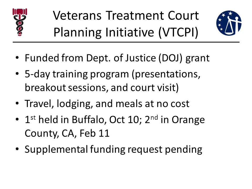 Veterans Treatment Court Planning Initiative (VTCPI) Funded from Dept.