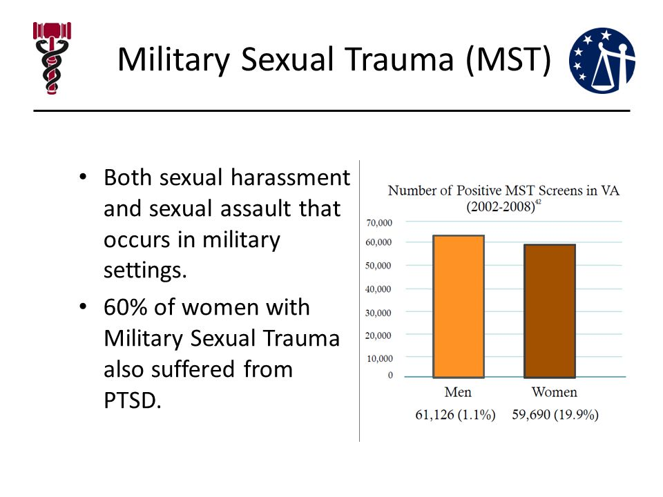Military Sexual Trauma (MST) Both sexual harassment and sexual assault that occurs in military settings.