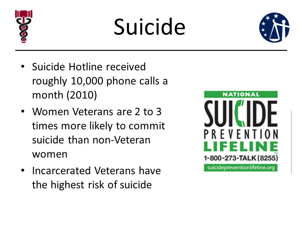 Suicide Suicide Hotline received roughly 10,000 phone calls a month (2010) Women Veterans are 2 to 3 times more likely to commit suicide than non-Veteran women Incarcerated Veterans have the highest risk of suicide