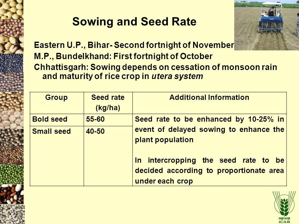 Eastern U.P., Bihar- Second fortnight of November M.P., Bundelkhand: First fortnight of October Chhattisgarh: Sowing depends on cessation of monsoon r