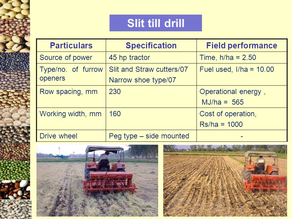 Slit till drill ParticularsSpecificationField performance Source of power45 hp tractorTime, h/ha = 2.50 Type/no.