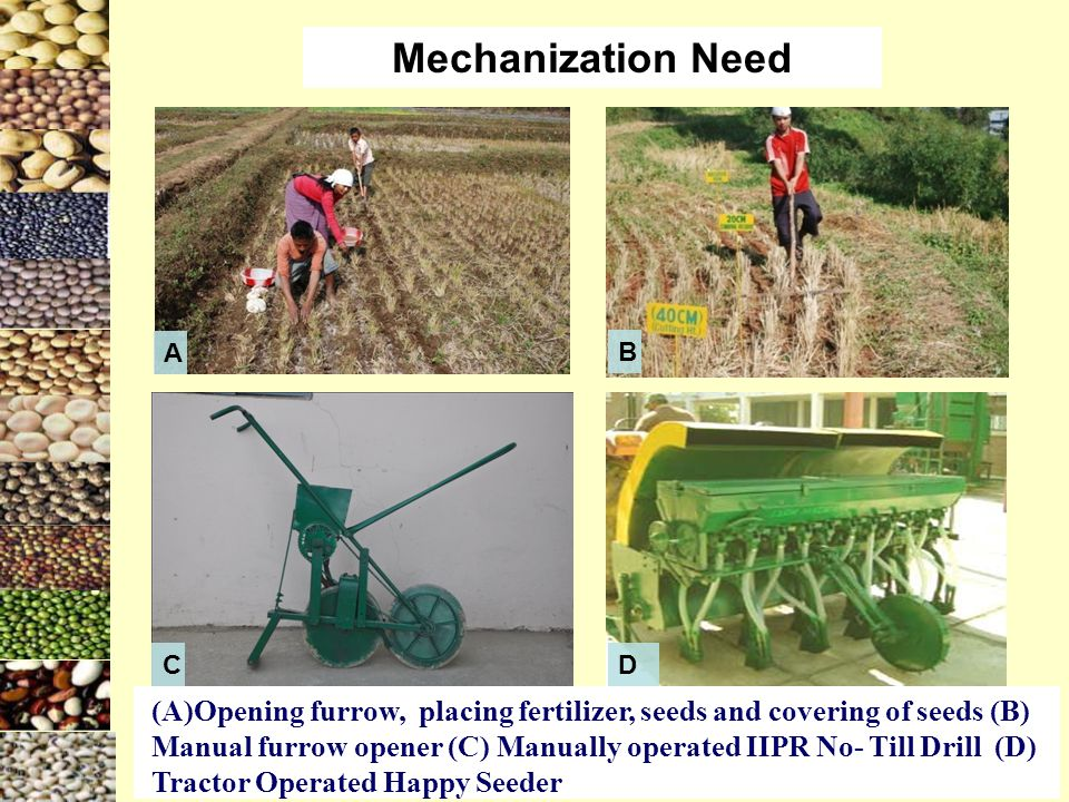 (A)Opening furrow, placing fertilizer, seeds and covering of seeds (B) Manual furrow opener (C) Manually operated IIPR No- Till Drill (D) Tractor Operated Happy Seeder Mechanization Need A DC B