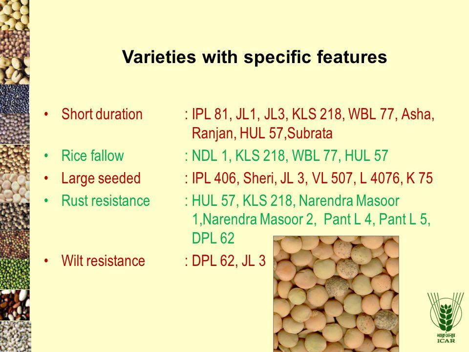 Short duration: IPL 81, JL1, JL3, KLS 218, WBL 77, Asha, Ranjan, HUL 57,Subrata Rice fallow: NDL 1, KLS 218, WBL 77, HUL 57 Large seeded: IPL 406, She