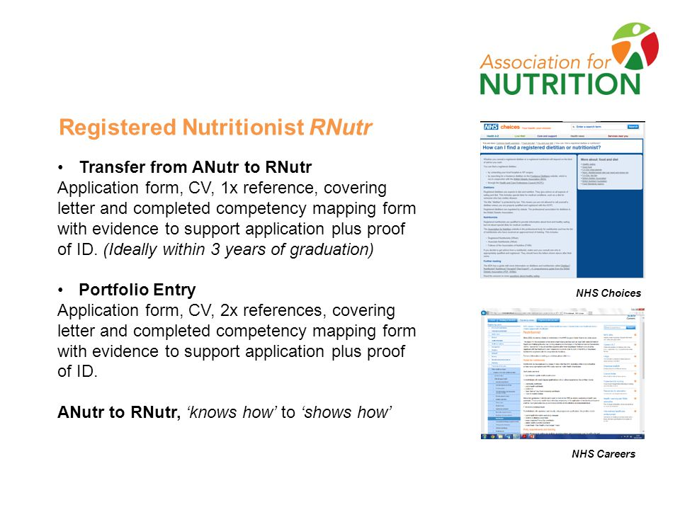 Registered Nutritionist RNutr Transfer from ANutr to RNutr Application form, CV, 1x reference, covering letter and completed competency mapping form with evidence to support application plus proof of ID.