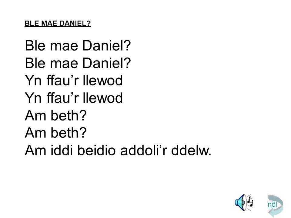 BLE MAE DANIEL? Ble mae Daniel? Yn ffau'r llewod Am beth? Am iddi beidio addoli'r ddelw. nôl