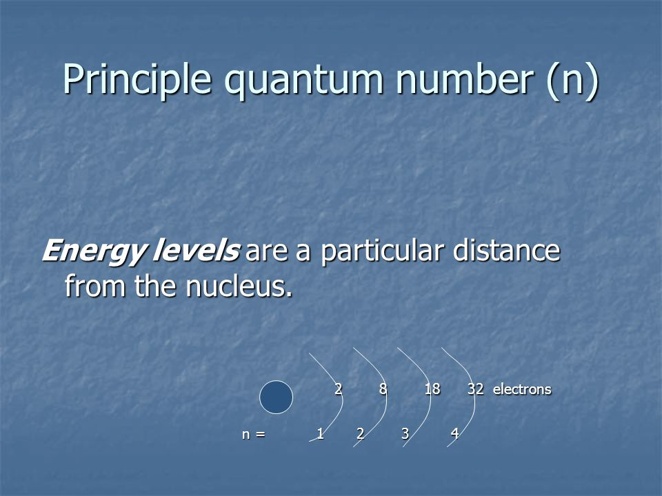 Principle quantum number (n) Energy levels are a particular distance from the nucleus.