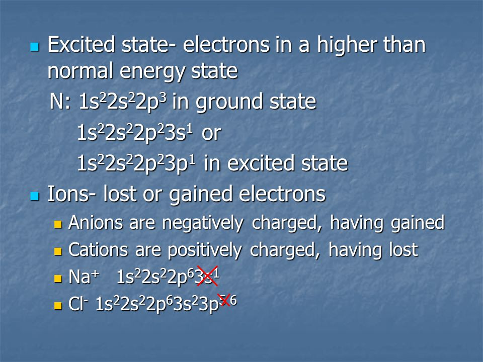 Excited state- electrons in a higher than normal energy state Excited state- electrons in a higher than normal energy state N: 1s 2 2s 2 2p 3 in ground state N: 1s 2 2s 2 2p 3 in ground state 1s 2 2s 2 2p 2 3s 1 or 1s 2 2s 2 2p 2 3s 1 or 1s 2 2s 2 2p 2 3p 1 in excited state 1s 2 2s 2 2p 2 3p 1 in excited state Ions- lost or gained electrons Ions- lost or gained electrons Anions are negatively charged, having gained Anions are negatively charged, having gained Cations are positively charged, having lost Cations are positively charged, having lost Na + 1s 2 2s 2 2p 6 3s 1 Na + 1s 2 2s 2 2p 6 3s 1 Cl - 1s 2 2s 2 2p 6 3s 2 3p 5 6 Cl - 1s 2 2s 2 2p 6 3s 2 3p 5 6