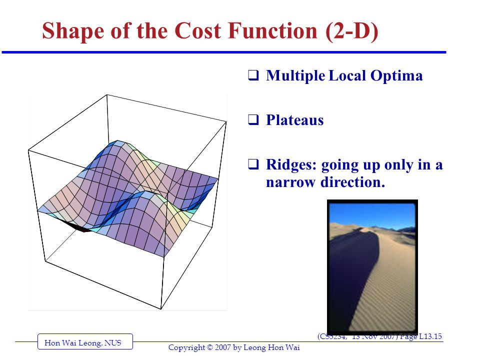 Hon Wai Leong, NUS (CS5234, 13 Nov 2007) Page L13.15 Copyright © 2007 by Leong Hon Wai Shape of the Cost Function (2-D)  Multiple Local Optima  Plateaus  Ridges: going up only in a narrow direction.