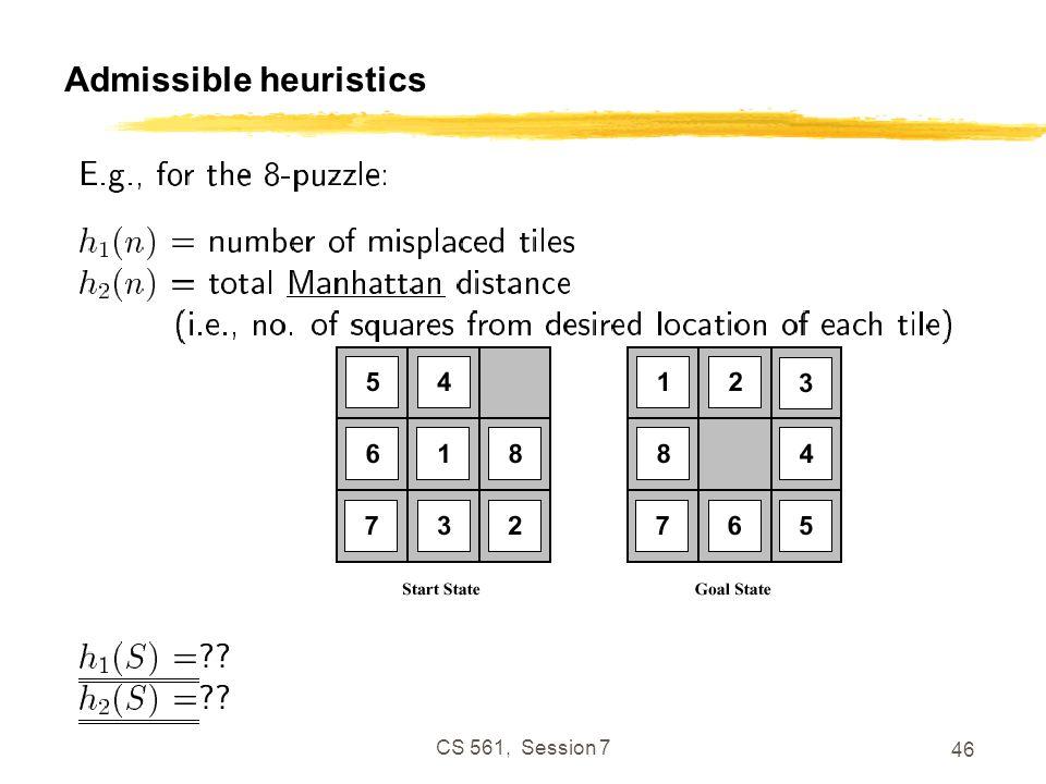 CS 561, Session 7 46 Admissible heuristics