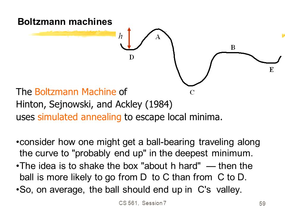 CS 561, Session 7 59 Boltzmann machines h The Boltzmann Machine of Hinton, Sejnowski, and Ackley (1984) uses simulated annealing to escape local minima.