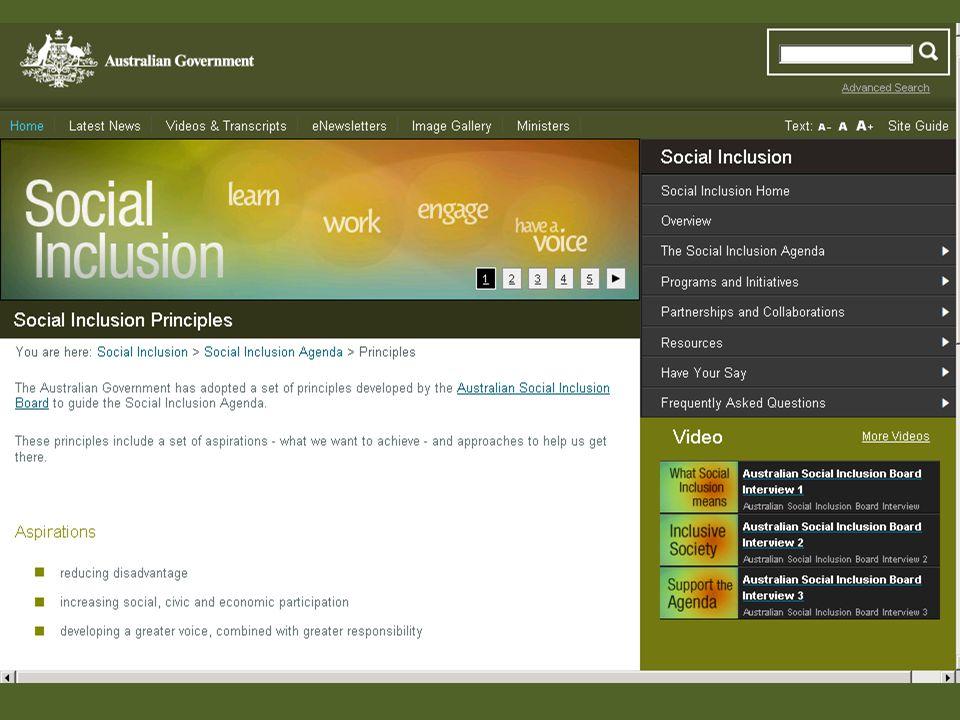 Social Inclusion Principles Australia http://www.socialinclusion.gov.au/Pages/default.aspx