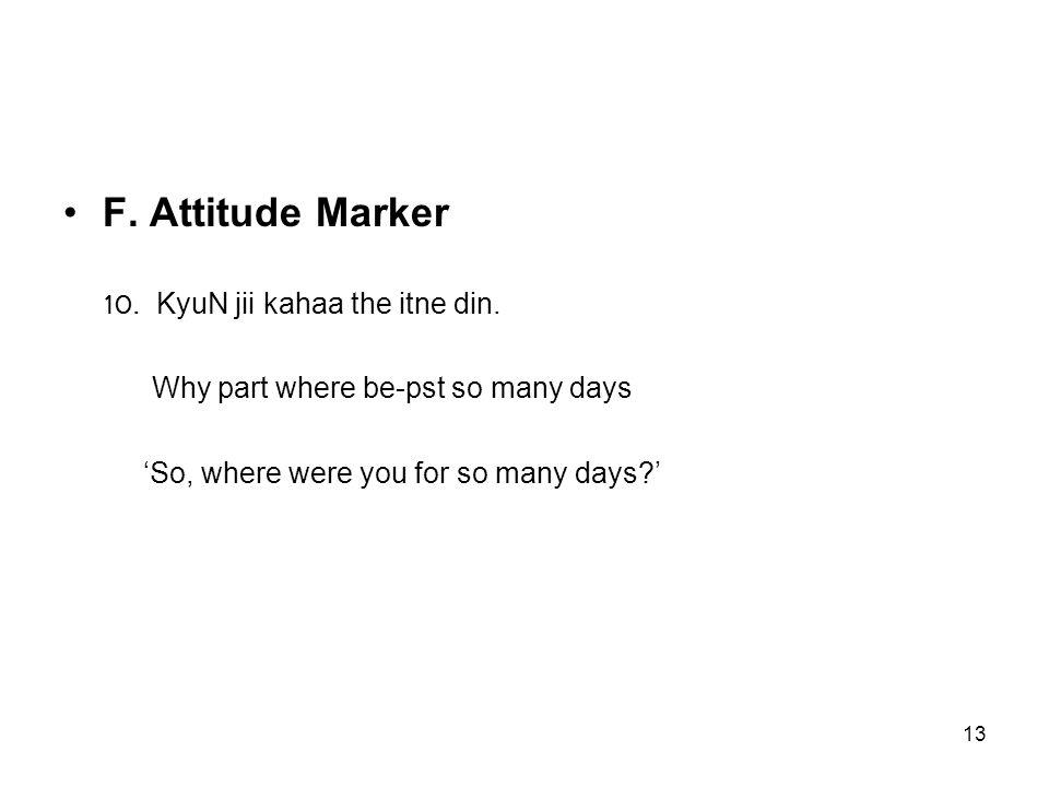 13 F. Attitude Marker 10. KyuN jii kahaa the itne din.