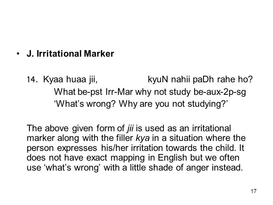 17 J. Irritational Marker 14. Kyaa huaa jii, kyuN nahii paDh rahe ho.