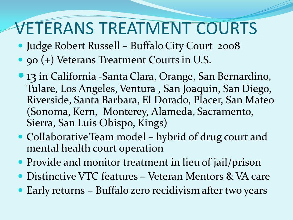VETERANS TREATMENT COURTS Judge Robert Russell – Buffalo City Court 2008 90 (+) Veterans Treatment Courts in U.S.
