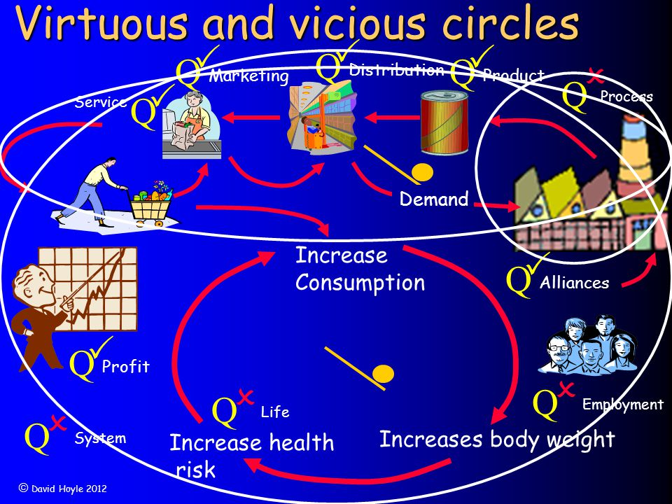  David Hoyle 2012 Virtuous and vicious circles Increase health risk Increases body weight  Q Process Q  Life Increase Consumption Q  Employment Q