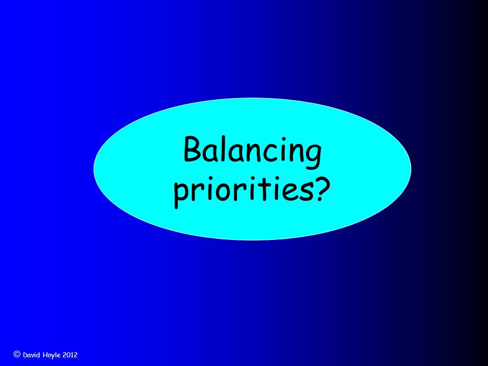  David Hoyle 2012 Balancing priorities?