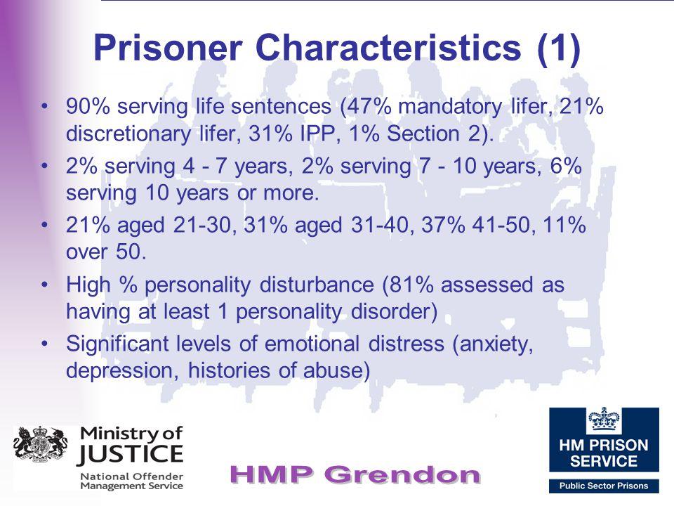 Prisoner Characteristics (1) 90% serving life sentences (47% mandatory lifer, 21% discretionary lifer, 31% IPP, 1% Section 2). 2% serving 4 - 7 years,