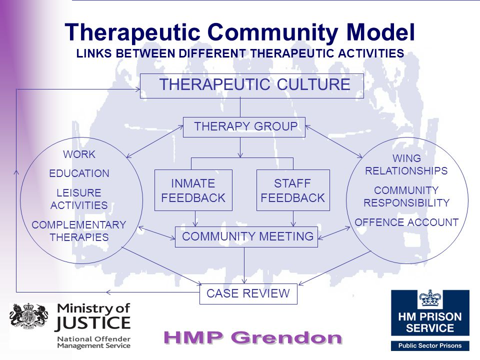 Therapeutic Community Model LINKS BETWEEN DIFFERENT THERAPEUTIC ACTIVITIES THERAPEUTIC CULTURE WORK EDUCATION LEISURE ACTIVITIES COMPLEMENTARY THERAPI