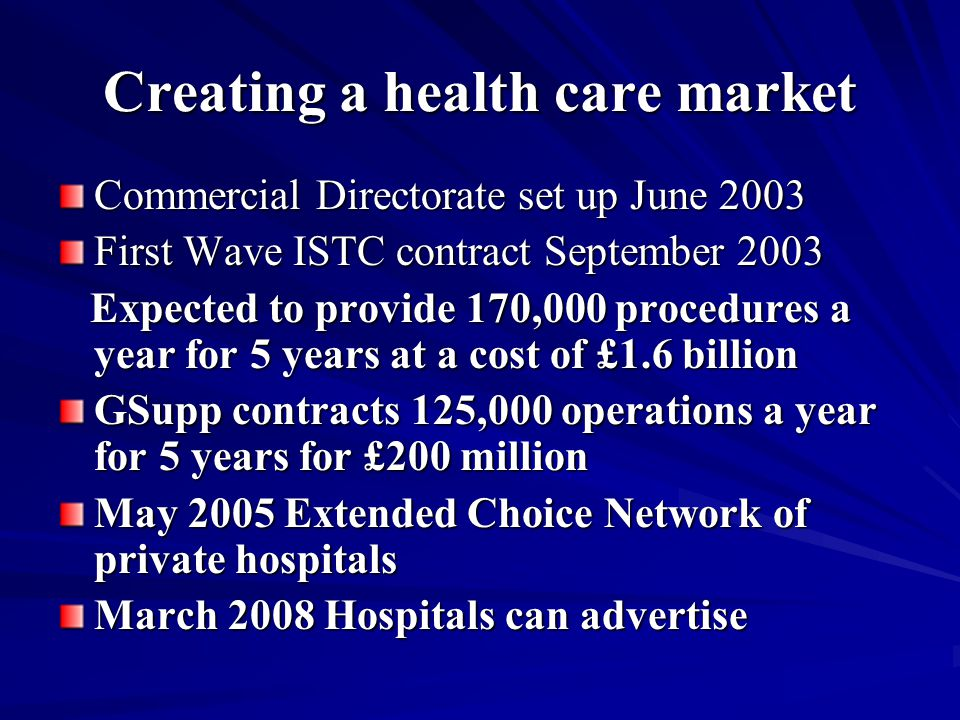 Creating a health care market Commercial Directorate set up June 2003 First Wave ISTC contract September 2003 Expected to provide 170,000 procedures a