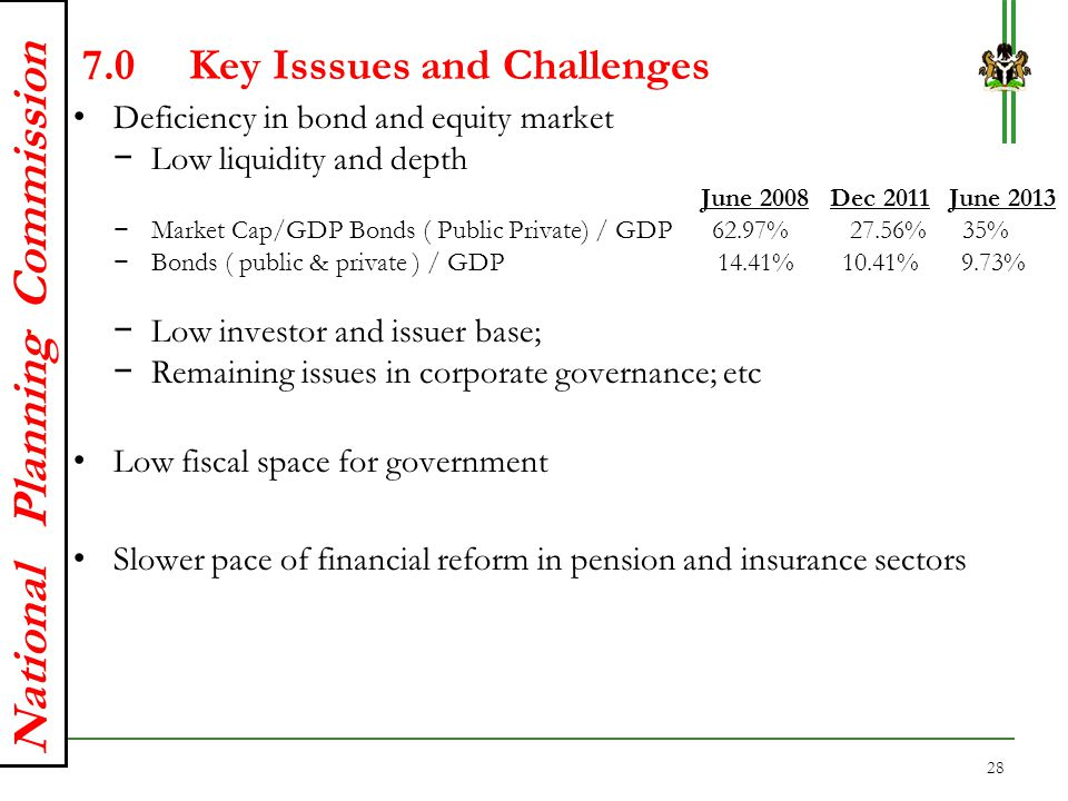 National Planning Commission 7.0Key Isssues and Challenges Deficiency in bond and equity market − Low liquidity and depth June 2008 Dec 2011 June 2013