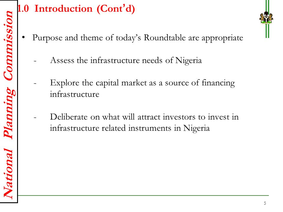 National Planning Commission 2.0Nigeria's Current State of Infrastructure The current state of infrastructure in Nigeria is inadequate - To drive the country's development aspirations Stock of infrastructure remains below the international benchmark of 70% of GDP Nigeria's core infrastructure stock is 35-40% of GDP Additionally, the lower infrastructure stock is not properly integrated - Thus the need for NIIMP to bridge the gap SOURCE: ITF; GWI; IHS Global Insight; McKinsey Global Institute analysis 1 Excludes Russia 6