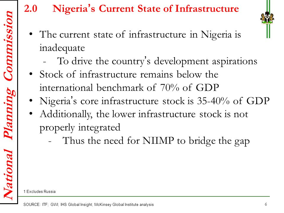 4.2 Required Investment to close Nigeria's Infrastructure gap on average annual basis 34–3829–3324–2819–232014–182039–43 7910999 X% Share of GDP, total Average annual spending, USD billions SOURCE: NIIMP development team Required investments to close infrastructure gap Average annual infrastructure spending required by Nigeria is highlighted below: 17