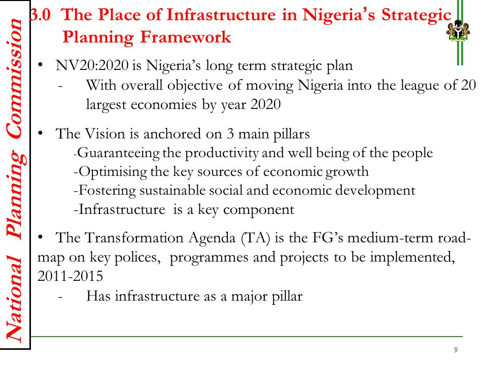 National Planning Commission 5.0 Financing Options for Infrastructure Development in Nigeria (Cont'd) An estimated USD 2,900 billion is required for Nigeria's infrastructure development, over the next 30 years.