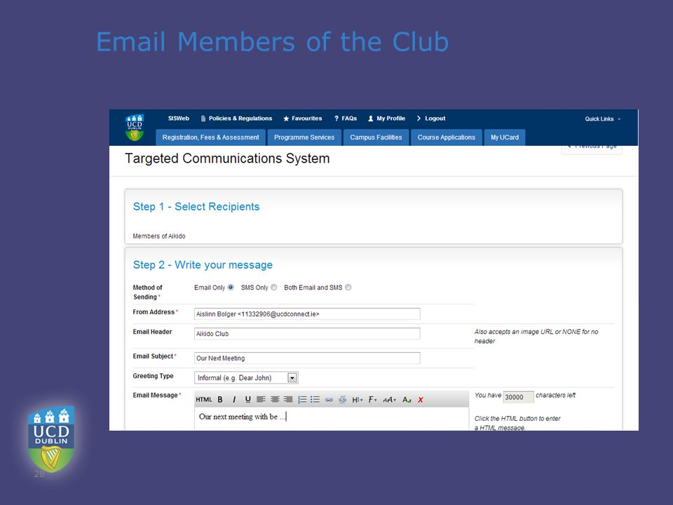 Email Members of the Club 28
