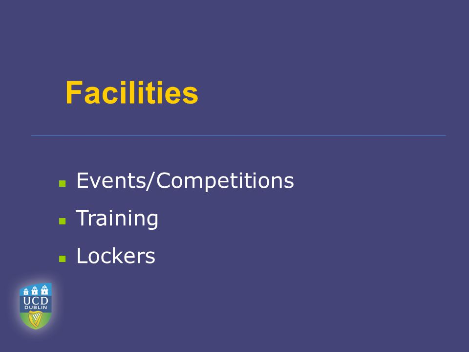 Facilities Events/Competitions Training Lockers