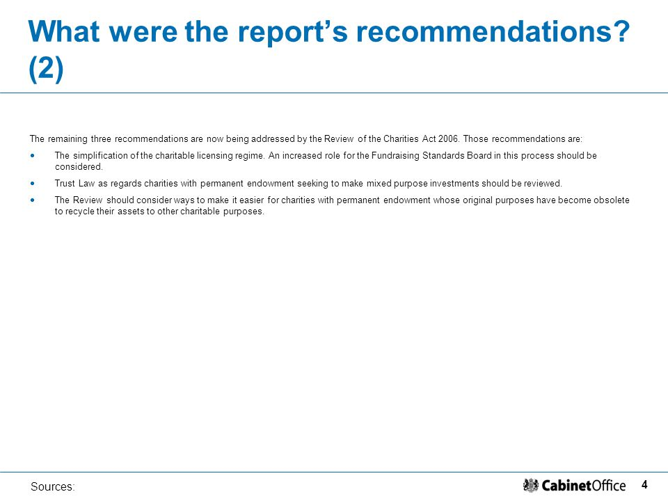 4 Sources: What were the report's recommendations.